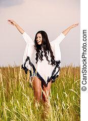 Ao ar livre, beleza, natureza, liberdade, livre, mulher, menina, desfrutando, Feliz