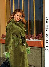 ao ar livre, casaco inverno, mulher, modelo, moda, sorrindo