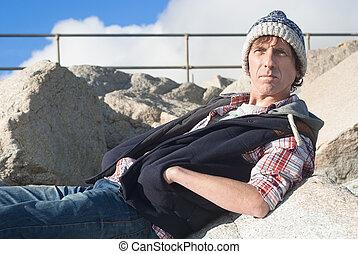 ao ar livre, casual, assento homem