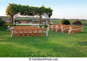 ao ar livre, cerimônia casamento, dossel, (chuppah, ou,...