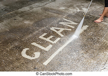 ao ar livre, chão, limpeza, com, pressão alta, jato água