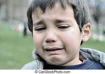 ao ar livre, chorando, criança