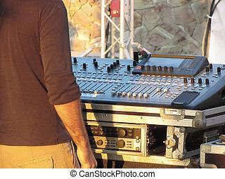 ao ar livre, console, ajustar, profissional, pôr do sol, faders, misturando, partido, maçanetas, áudio