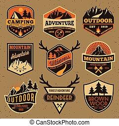 ao ar livre, emblema, acampamento