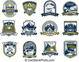 ao ar livre, escudo, acampamento, desenho, aventura, emblema
