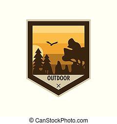 ao ar livre, escudo, edgy, desenho, aventura, emblema