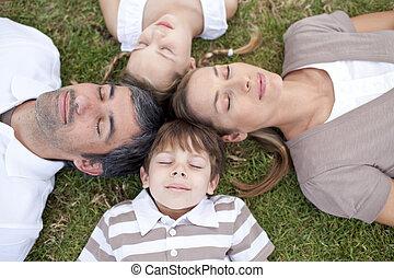 ao ar livre, família, dormir, junto, cabeças