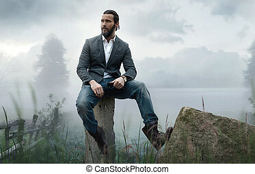 ao ar livre, foto, moda, elegante, homem, bonito