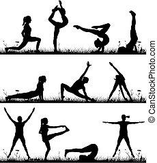 ao ar livre, ginástica, condicão física