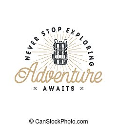 ao ar livre, hiking, remendo, style., backpacking, impressões, vindima, retro, desenhado, emblema, citação, motivational, mão, shirts., aventura, label., logo., tipografia, emblem., vetorial, t, inspirational