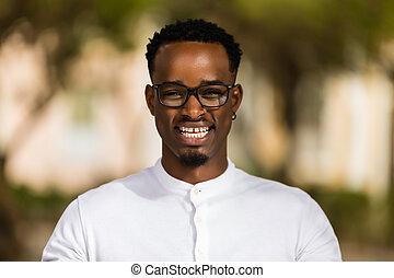 ao ar livre, homens, jovem, americano, pretas, africano, retrato