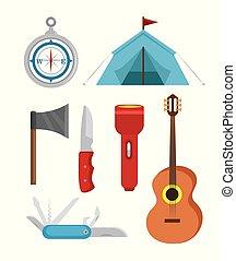 ao ar livre, jogo, aventura, acampamento, ícone