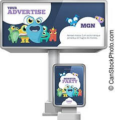 ao ar livre, jogo, citylight, vetorial, anunciando, modelo, billboard, design.