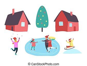 ao ar livre, jogo, inverno, pessoas, estação, junto, vetorial