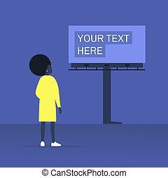 ao ar livre, jovem, anunciando, aqui, construção, seu, olhar, grande, fêmea preta, personagem, texto, billboard