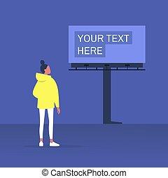 ao ar livre, jovem, anunciando, construção, olhar, grande, femininas, personagem, billboard