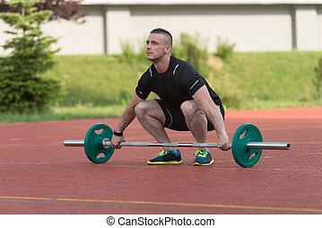ao ar livre, jovem, squat, despesas gerais, exercício, homem