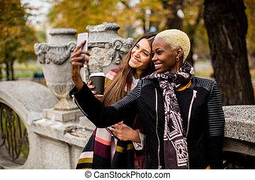 ao ar livre, levando, multiracial, femininas, amigos, selfie