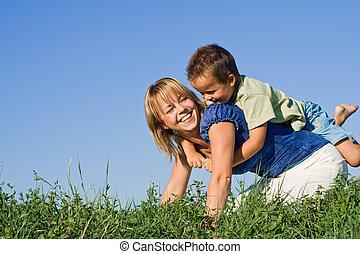 ao ar livre, mãe, filho