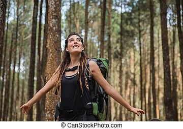 ao ar livre, medos, relaxante, mulher jovem, retrato