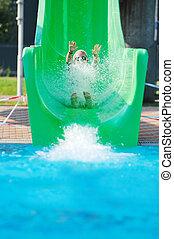 ao ar livre, natação, menina, piscina, escorregar, divertimento, ter, água