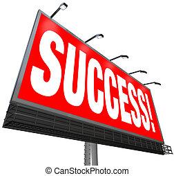 ao ar livre, palavra, meta, sucesso, sucedido, anunciando, billboard