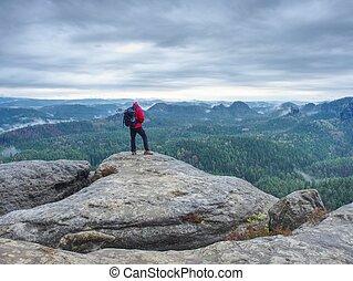 ao ar livre, pensando, fotógrafo, tripé, câmera, rocha