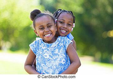 ao ar livre, -, pessoas, pretas, rir, cute, irmãs, retrato, africano, jovem