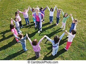 ao ar livre, pré-escolar, divertimento, ter, crianças