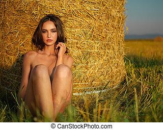 ao ar livre, retrato, de, bonito, mulher jovem
