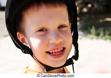 ao ar livre, retrato, de, cute, 5, anos velho, menino...