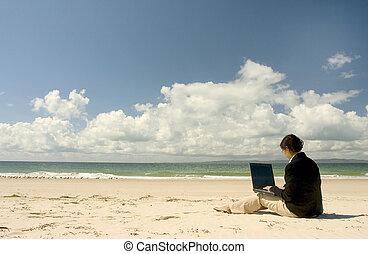 ao ar livre, trabalhando