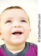 ao ar livre, verde, retrato, deslumbrante, olhos, adorável, bebê
