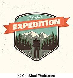 ao ar livre, vetorial, illustration., patch., expedição