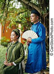 ao, dai, pares asiáticos, vestidos