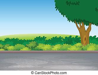 ao lado, árvore, estrada