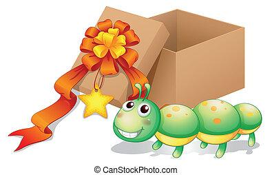 ao lado, caixa, lagarta, brinquedo