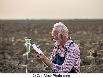 ao lado, campo, medida, chuva, agricultor