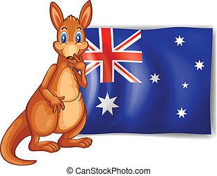 ao lado, canguru, Australiano, bandeira