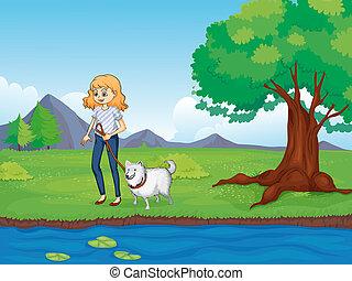 ao longo, andar, mulher, cão, rio