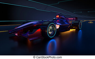 ao longo, car, acelerando, túnel, raça, futurista