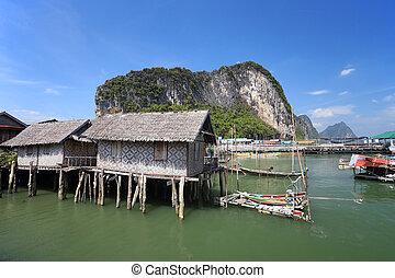 """Ao Phang nga National Park. Koh Panyee. A Muslim """"sea gypsy""""..."""