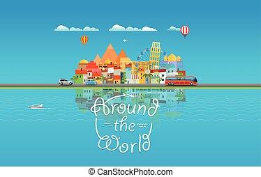 ao redor, concept., ilustração, vetorial, ásia, cityscape, mundo viaja, viagem
