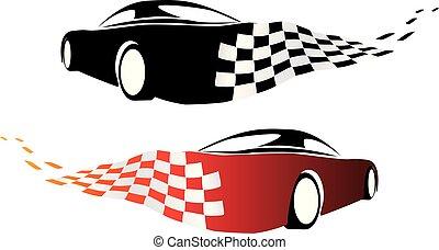 ao redor, drifting, pista, raça carro, canto