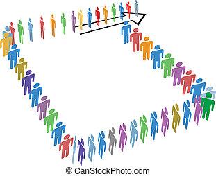 ao redor, espaço, muitos, pessoas, longo, linha, cópia, bloco