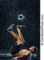 ao redor, futebol, água, jogador, sob, gotas