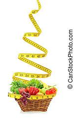 ao redor, legumes, frutas, aquilo, medida fita, cesta