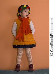 ao redor, olhar, laranja, menina, vestido, litle