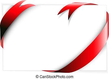 ao redor, papel, vermelho, em branco, fita branca