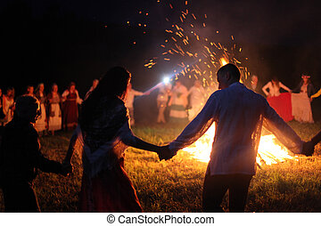 ao redor, pessoas, dança, bath., julho, fire., ivan, 2018, vologda, dia